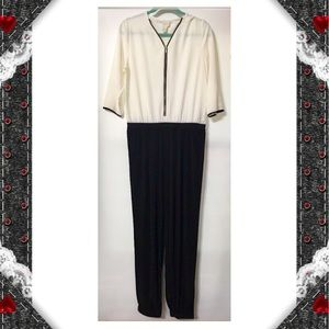 Chico's Front Zipped Ivory&Black Romper